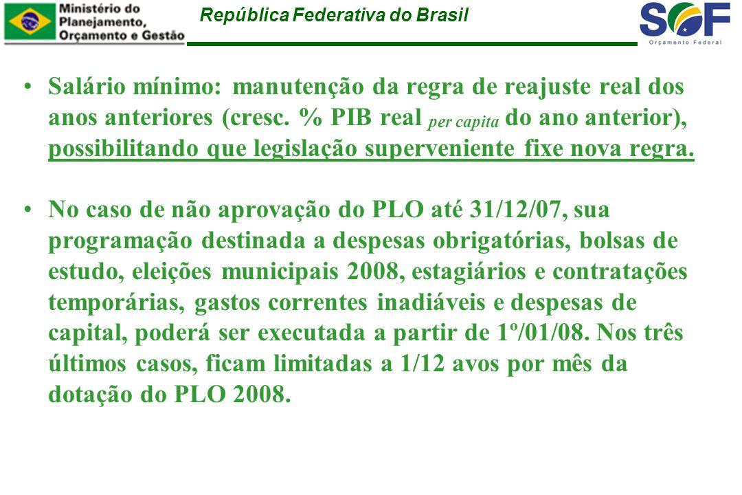 República Federativa do Brasil Salário mínimo: manutenção da regra de reajuste real dos anos anteriores (cresc.