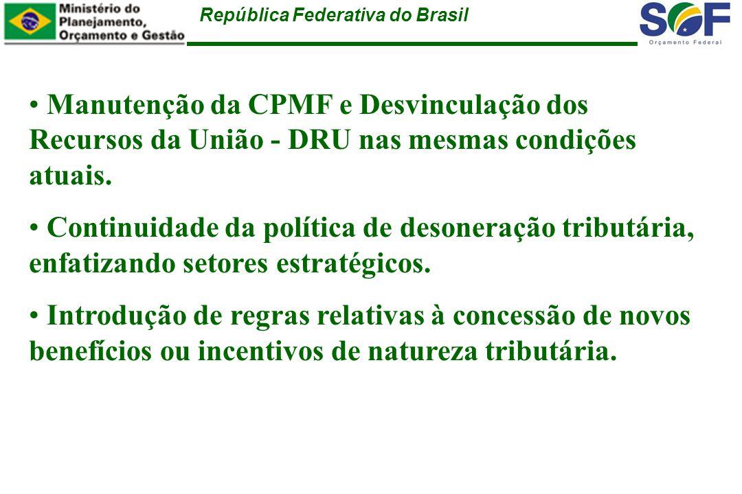República Federativa do Brasil Regras Específicas para Despesa