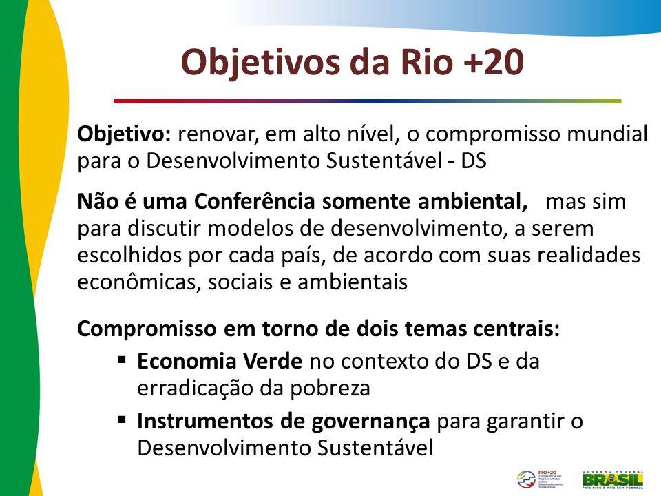 Objetivos da Rio +20 Objetivo: renovar, em alto nível, o compromisso mundial para o Desenvolvimento Sustentável - DS Não é uma Conferência somente amb