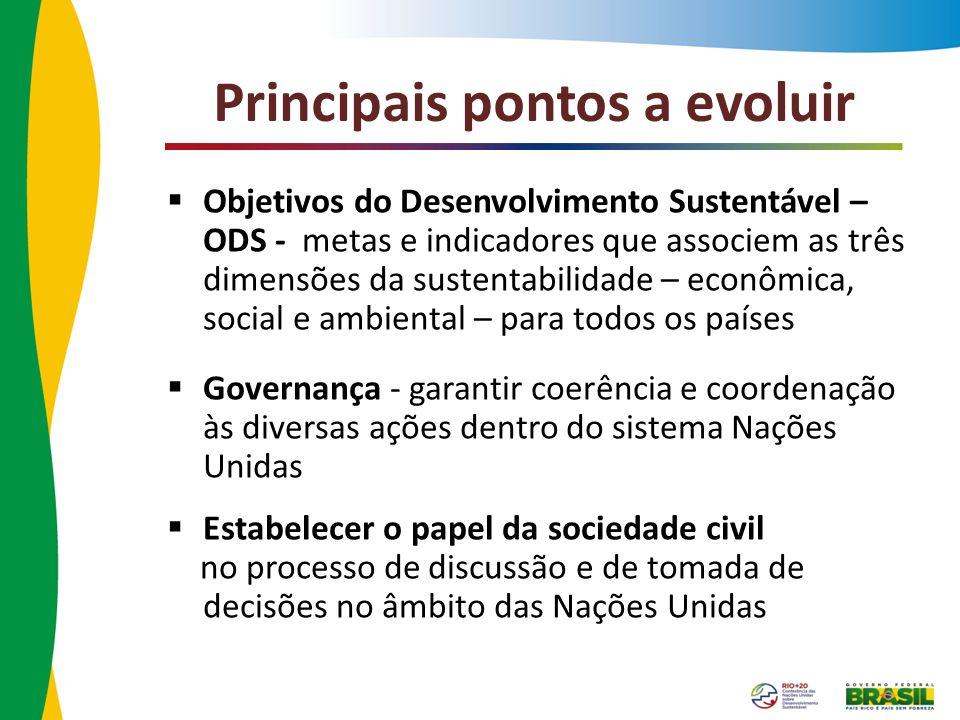 Principais pontos a evoluir Objetivos do Desenvolvimento Sustentável – ODS - metas e indicadores que associem as três dimensões da sustentabilidade –