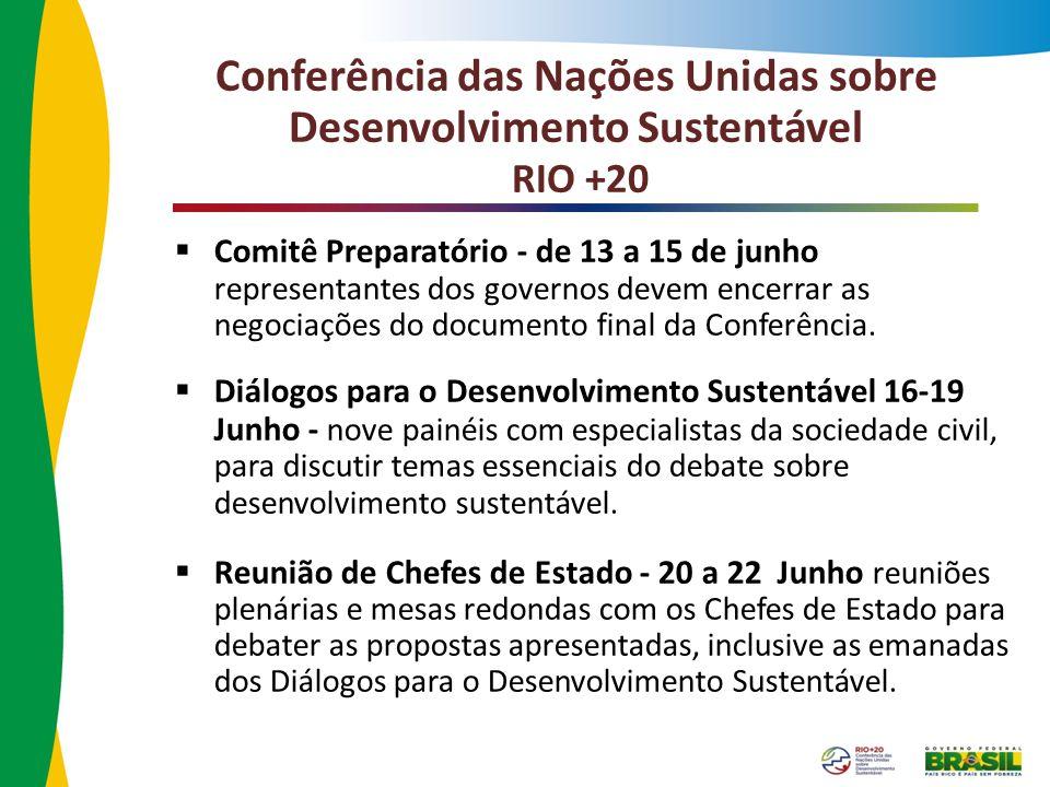 Comitê Preparatório - de 13 a 15 de junho representantes dos governos devem encerrar as negociações do documento final da Conferência. Diálogos para o