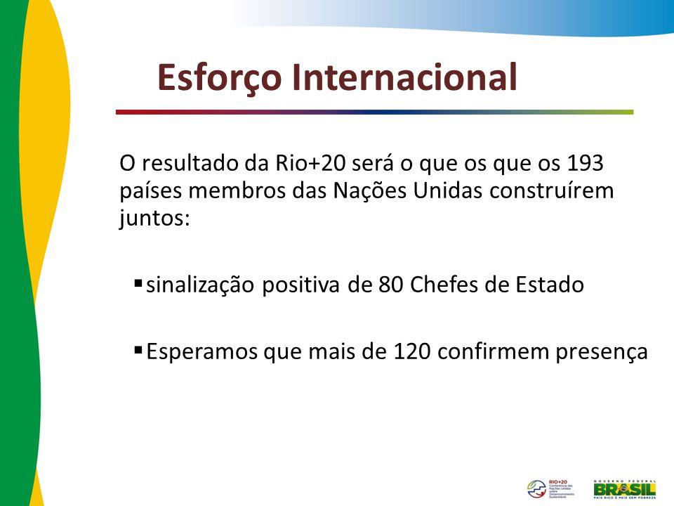 Esforço Internacional O resultado da Rio+20 será o que os que os 193 países membros das Nações Unidas construírem juntos: sinalização positiva de 80 C