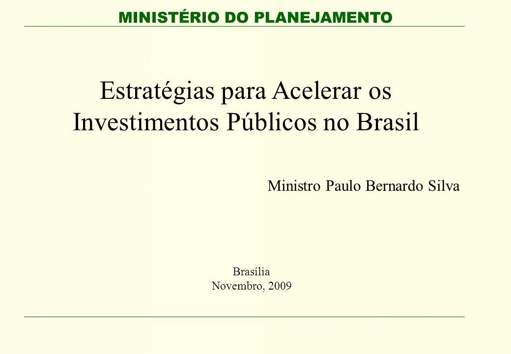 MINISTÉRIO DO PLANEJAMENTO Estratégias para Acelerar os Investimentos Públicos no Brasil Ministro Paulo Bernardo Silva Brasília Novembro, 2009
