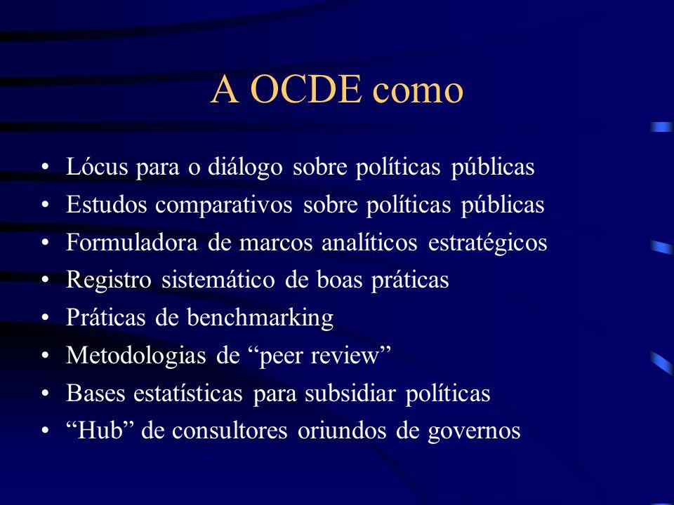 A OCDE como Lócus para o diálogo sobre políticas públicas Estudos comparativos sobre políticas públicas Formuladora de marcos analíticos estratégicos Registro sistemático de boas práticas Práticas de benchmarking Metodologias de peer review Bases estatísticas para subsidiar políticas Hub de consultores oriundos de governos
