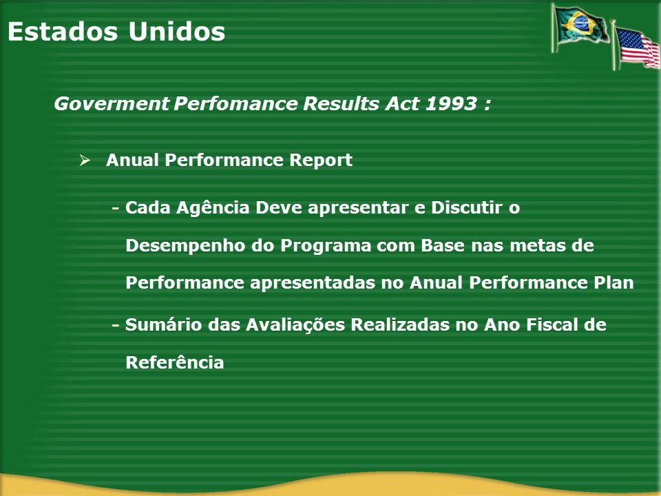 Estados Unidos Anual Performance Report Goverment Perfomance Results Act 1993 : - Cada Agência Deve apresentar e Discutir o Desempenho do Programa com