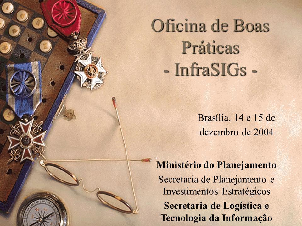 Oficina de Boas Práticas - InfraSIGs - Brasília, 14 e 15 de dezembro de 2004 Ministério do Planejamento Secretaria de Planejamento e Investimentos Est