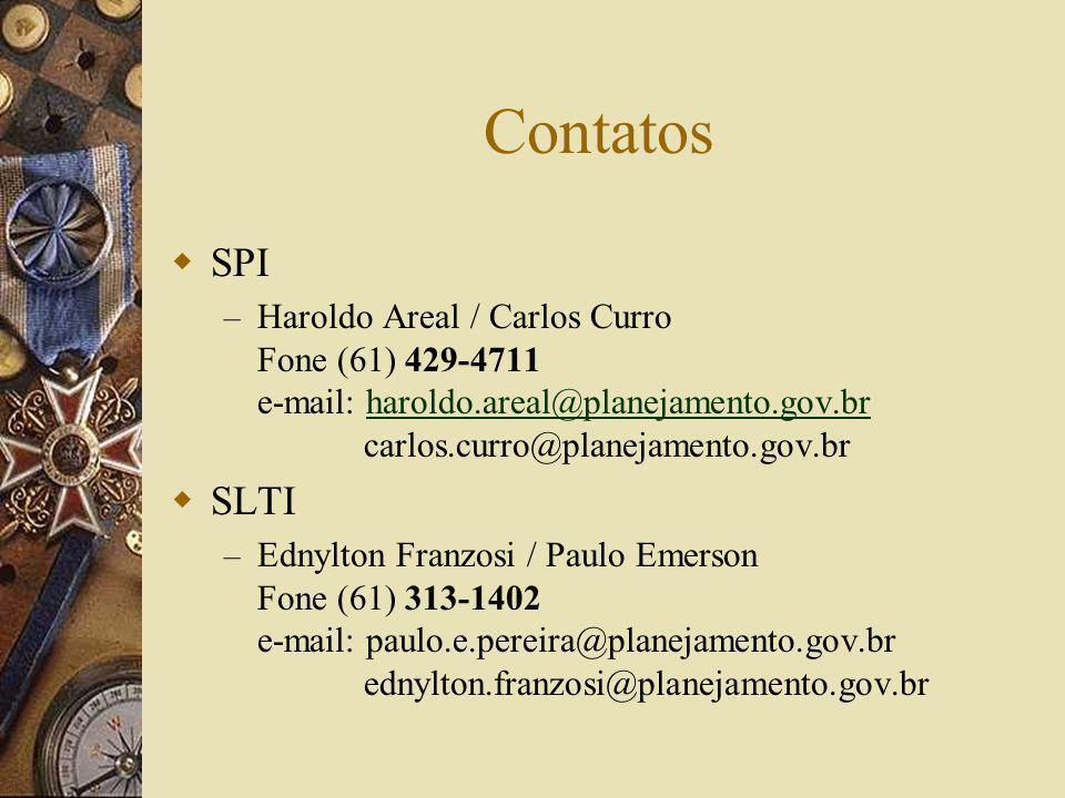 Contatos SPI – Haroldo Areal / Carlos Curro Fone (61) 429-4711 e-mail: haroldo.areal@planejamento.gov.br carlos.curro@planejamento.gov.brharoldo.areal