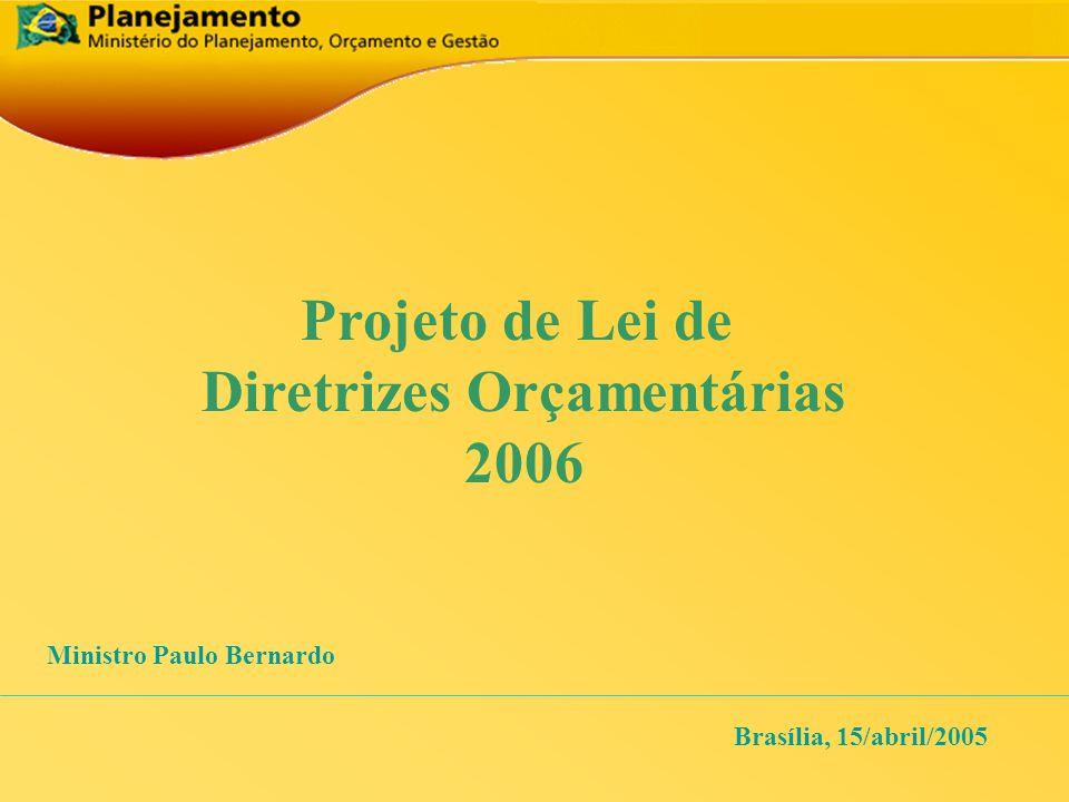 Projeto de Lei de Diretrizes Orçamentárias 2006 Brasília, 15/abril/2005 Ministro Paulo Bernardo