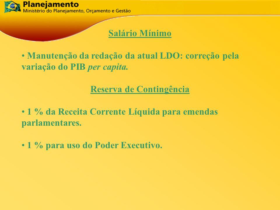 Salário Mínimo Manutenção da redação da atual LDO: correção pela variação do PIB per capita.