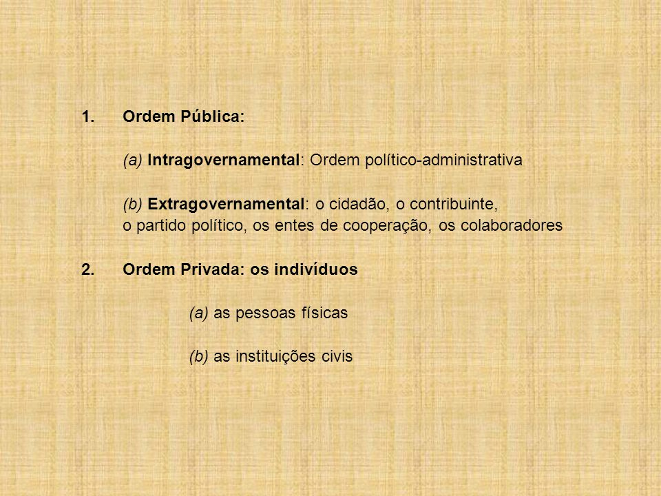 1.Ordem Pública: (a) Intragovernamental: Ordem político-administrativa (b) Extragovernamental: o cidadão, o contribuinte, o partido político, os entes de cooperação, os colaboradores 2.Ordem Privada: os indivíduos (a) as pessoas físicas (b) as instituições civis