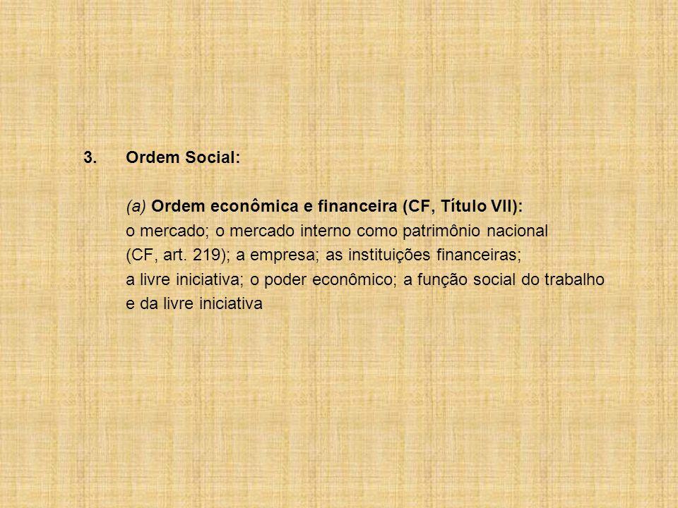 3.Ordem Social: (a) Ordem econômica e financeira (CF, Título VII): o mercado; o mercado interno como patrimônio nacional (CF, art.