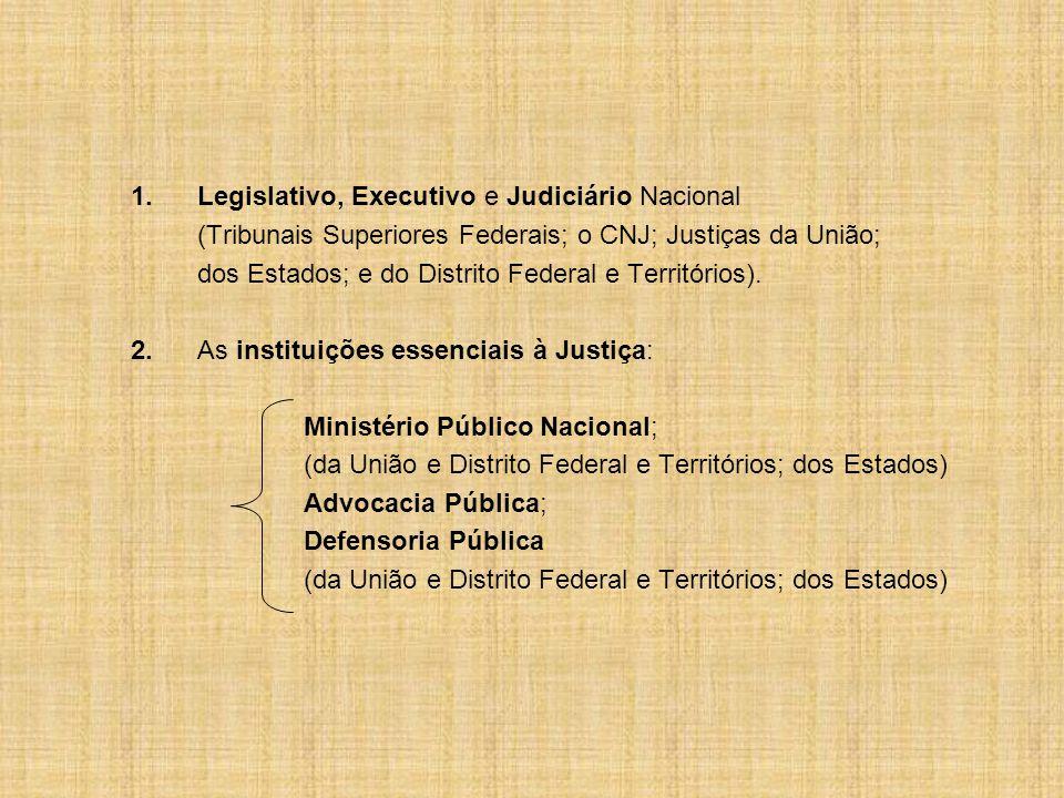 1.Legislativo, Executivo e Judiciário Nacional (Tribunais Superiores Federais; o CNJ; Justiças da União; dos Estados; e do Distrito Federal e Territórios).
