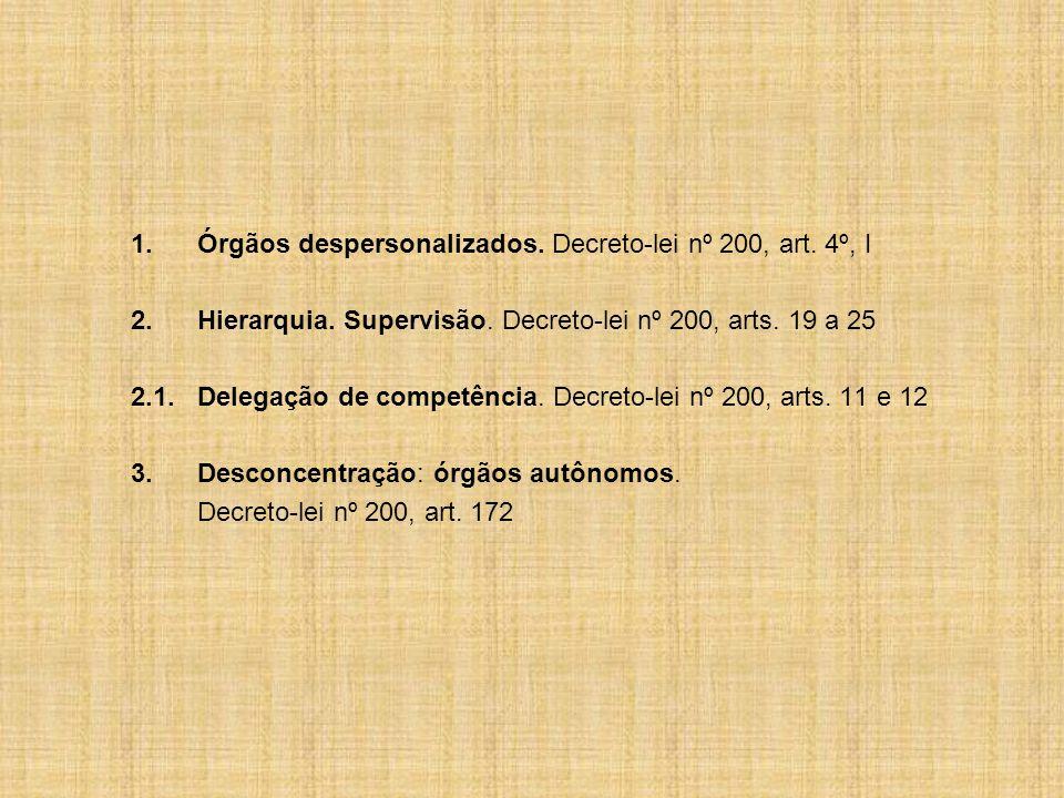 1.Órgãos despersonalizados.Decreto-lei nº 200, art.
