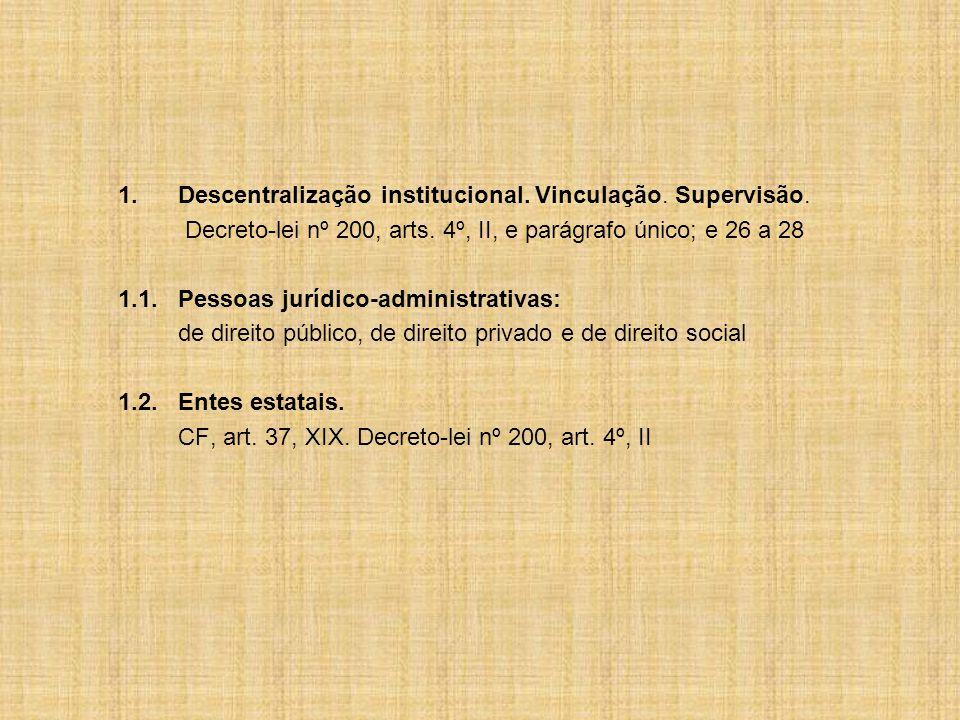 1.Descentralização institucional.Vinculação. Supervisão.