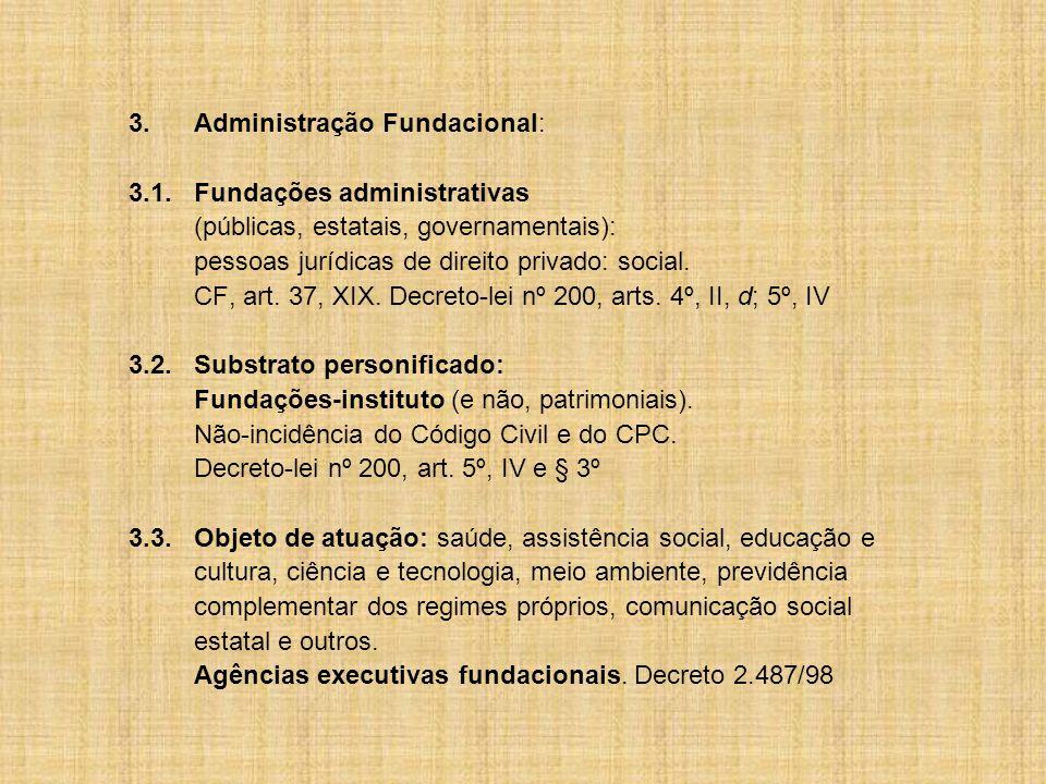 3.Administração Fundacional: 3.1.Fundações administrativas (públicas, estatais, governamentais): pessoas jurídicas de direito privado: social.