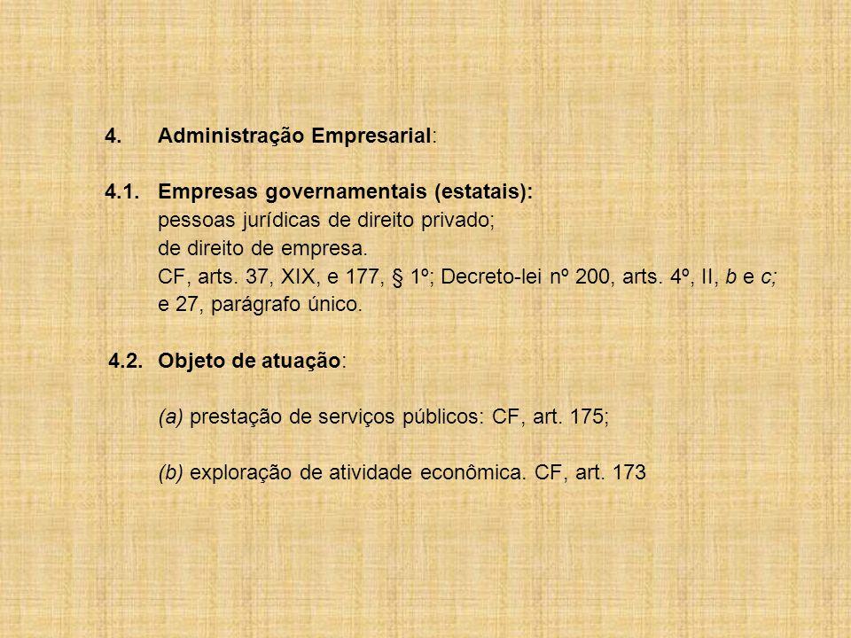 4.Administração Empresarial: 4.1.Empresas governamentais (estatais): pessoas jurídicas de direito privado; de direito de empresa.