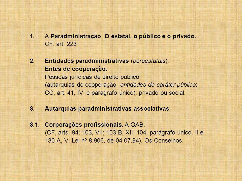 1.A Paradministração.O estatal, o público e o privado.
