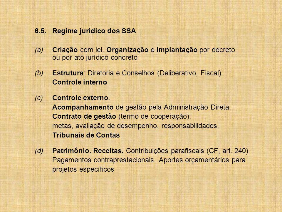 6.5.Regime jurídico dos SSA (a)Criação com lei.