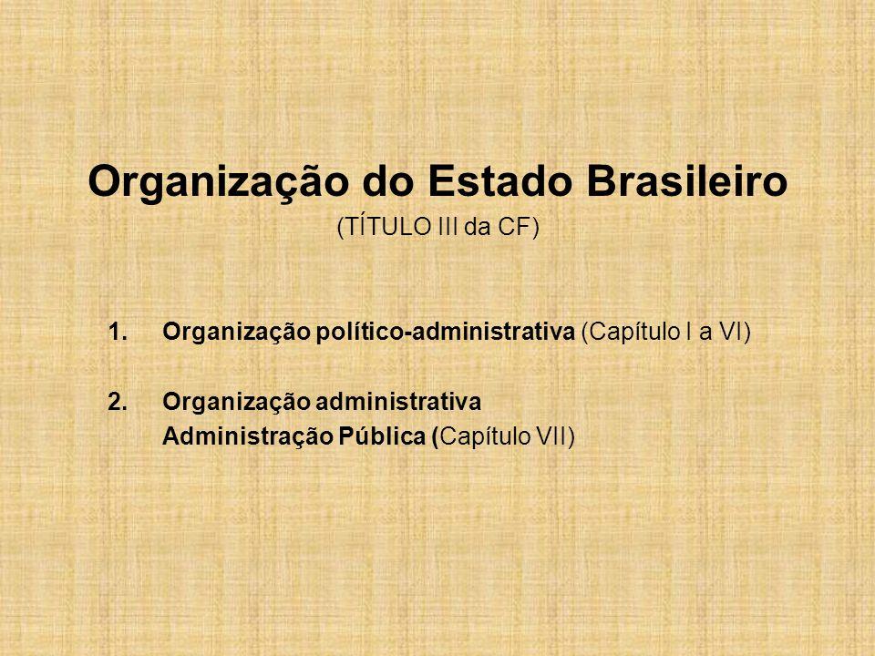 Organização do Estado Brasileiro (TÍTULO III da CF) 1.Organização político-administrativa (Capítulo I a VI) 2.Organização administrativa Administração Pública (Capítulo VII)