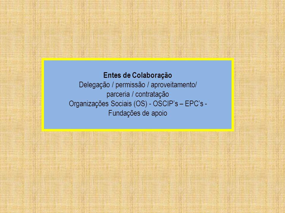 Entes de Colaboração Delegação / permissão / aproveitamento/ parceria / contratação Organizações Sociais (OS) - OSCIPs – EPCs - Fundações de apoio
