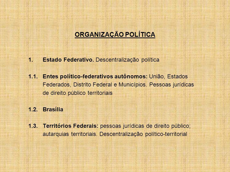 ORGANIZAÇÃO POLÍTICA 1.Estado Federativo.