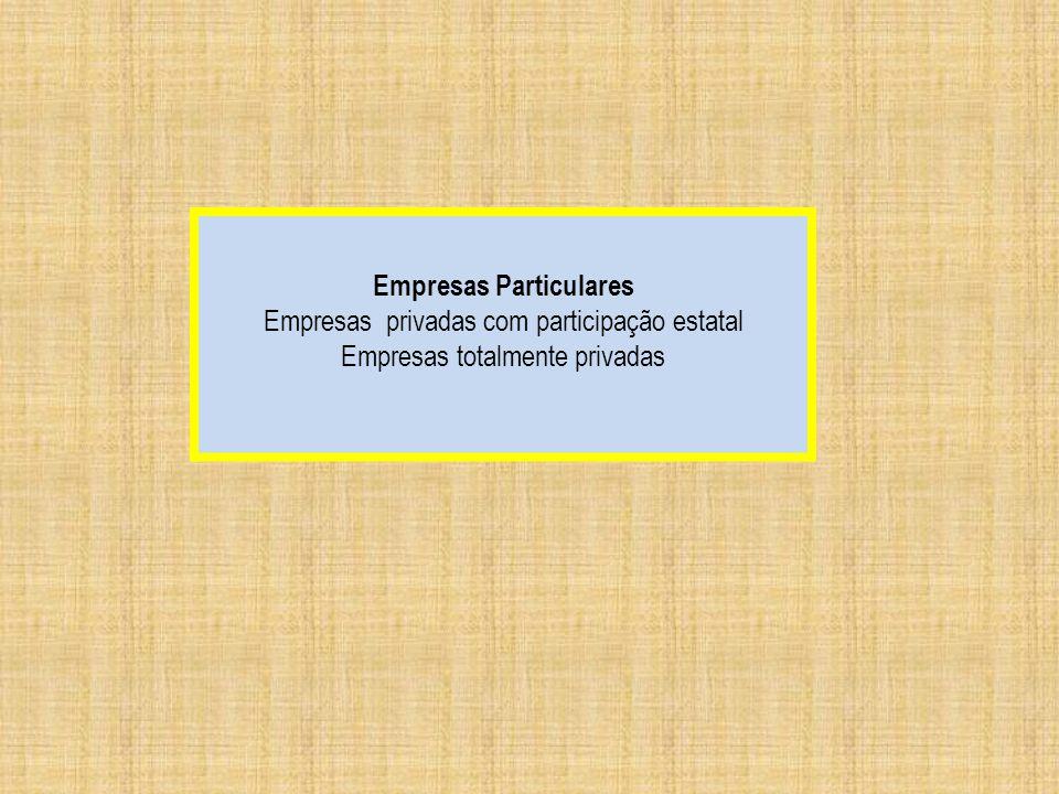 Empresas Particulares Empresas privadas com participação estatal Empresas totalmente privadas