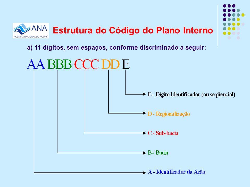 Estrutura do Código do Plano Interno a) 11 dígitos, sem espaços, conforme discriminado a seguir: