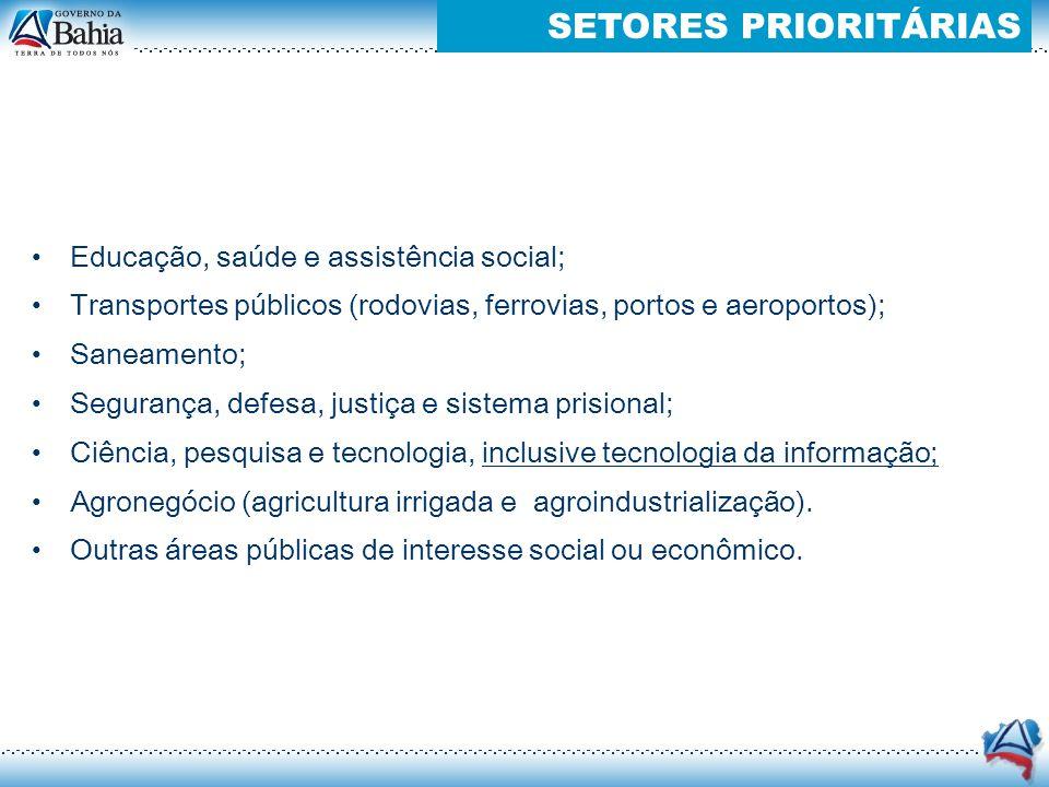 Educação, saúde e assistência social; Transportes públicos (rodovias, ferrovias, portos e aeroportos); Saneamento; Segurança, defesa, justiça e sistem