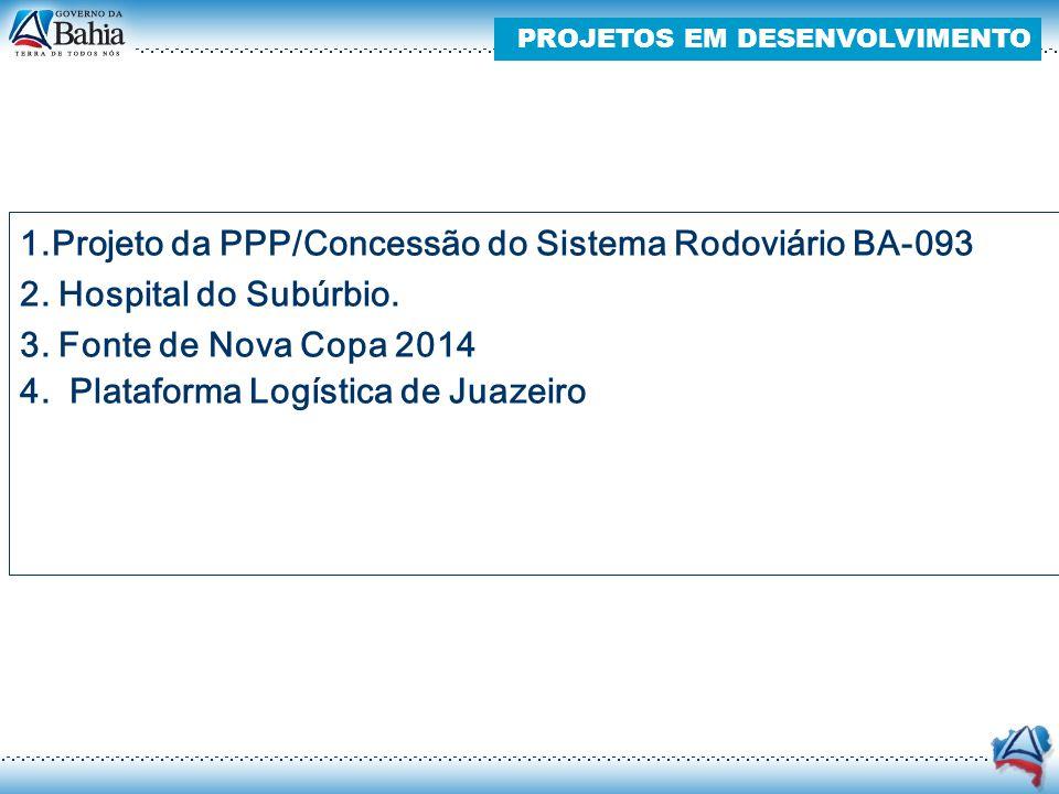 1.Projeto da PPP/Concessão do Sistema Rodoviário BA-093 2. Hospital do Subúrbio. 3. Fonte de Nova Copa 2014 4. Plataforma Logística de Juazeiro PROJET
