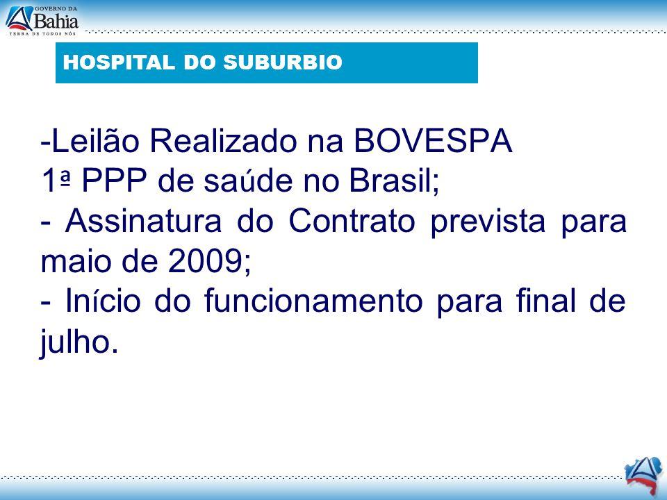-Leilão Realizado na BOVESPA 1 ª PPP de sa ú de no Brasil; - Assinatura do Contrato prevista para maio de 2009; - In í cio do funcionamento para final