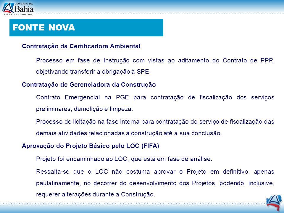 Contratação da Certificadora Ambiental o Processo em fase de Instrução com vistas ao aditamento do Contrato de PPP, objetivando transferir a obrigação