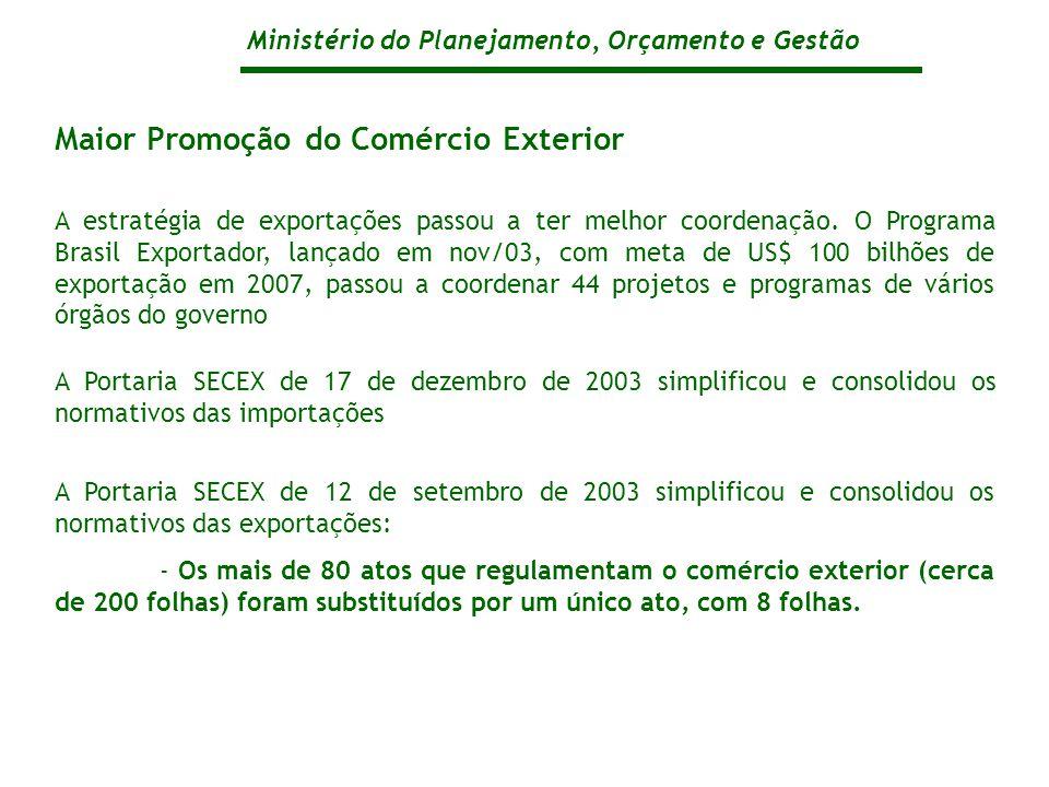 Ministério do Planejamento, Orçamento e Gestão Maior Promoção do Comércio Exterior A estratégia de exportações passou a ter melhor coordenação.