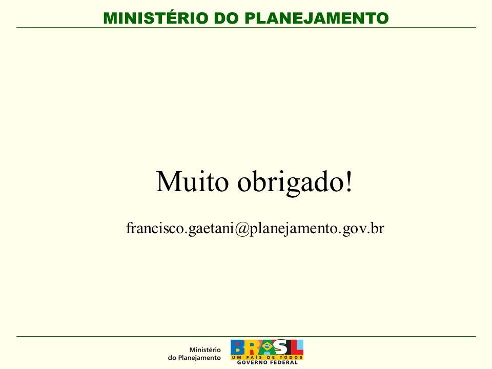 MINISTÉRIO DO PLANEJAMENTO Muito obrigado! francisco.gaetani@planejamento.gov.br