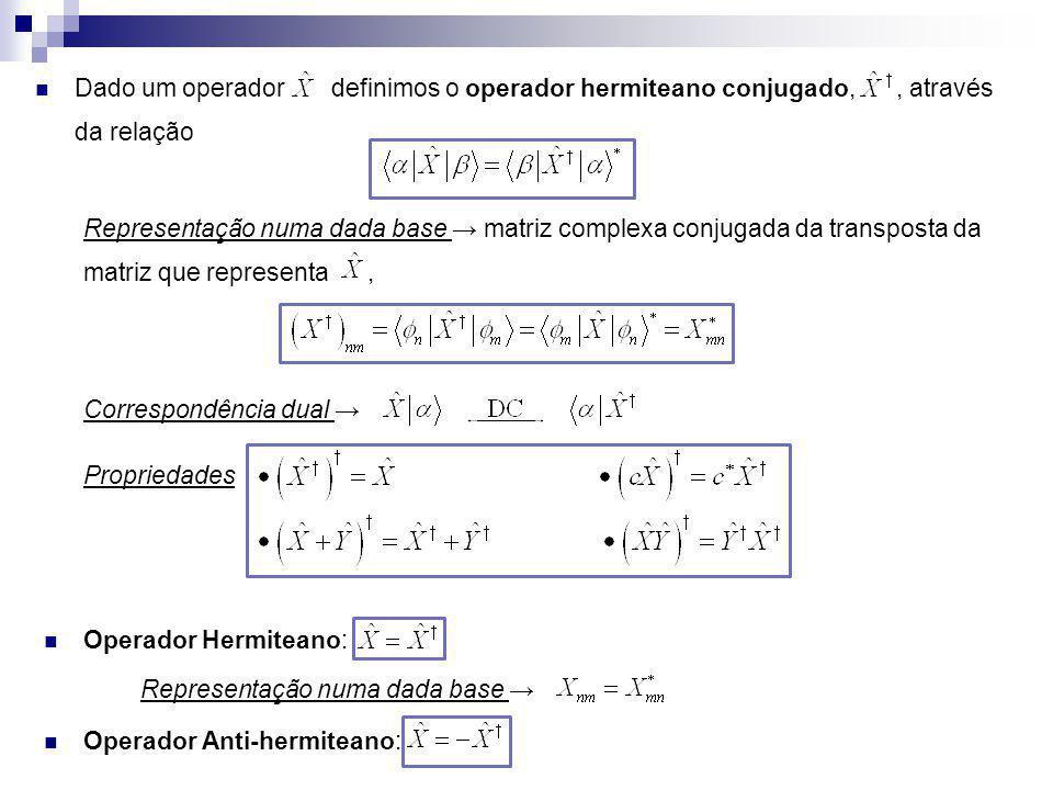 Dado um operador definimos o operador hermiteano conjugado,, através da relação Representação numa dada base matriz complexa conjugada da transposta d