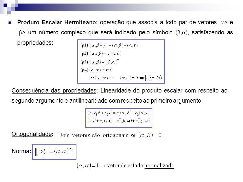 Produto Escalar Hermiteano: operação que associa a todo par de vetores | > e | > um número complexo que será indicado pelo símbolo (, ), satisfazendo