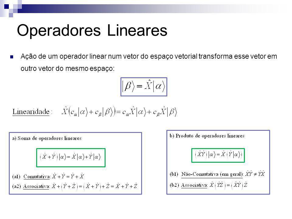 Representação de vetores de estado e operadores numa dada base: 1) Vetores de estado são representados em termos de suas componentes nessa base: 2) Um operador linear é representado em termos de uma matriz determinada através da ação do operador em cada um dos elementos da base: