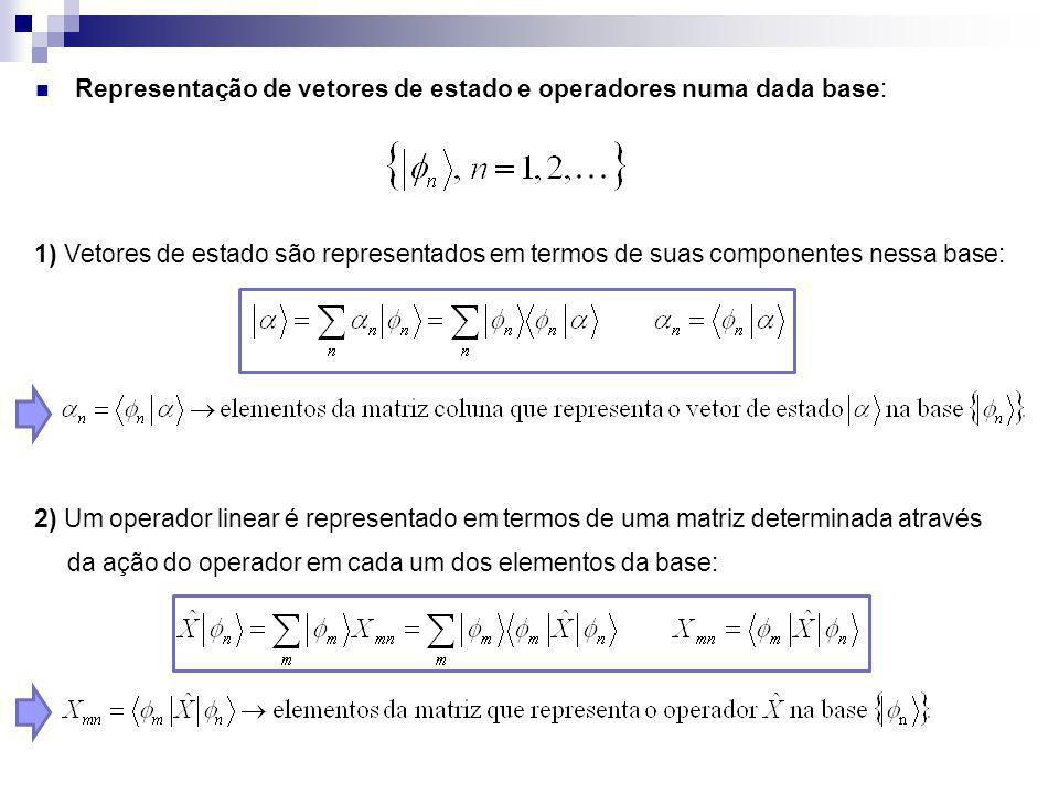 Representação de vetores de estado e operadores numa dada base: 1) Vetores de estado são representados em termos de suas componentes nessa base: 2) Um