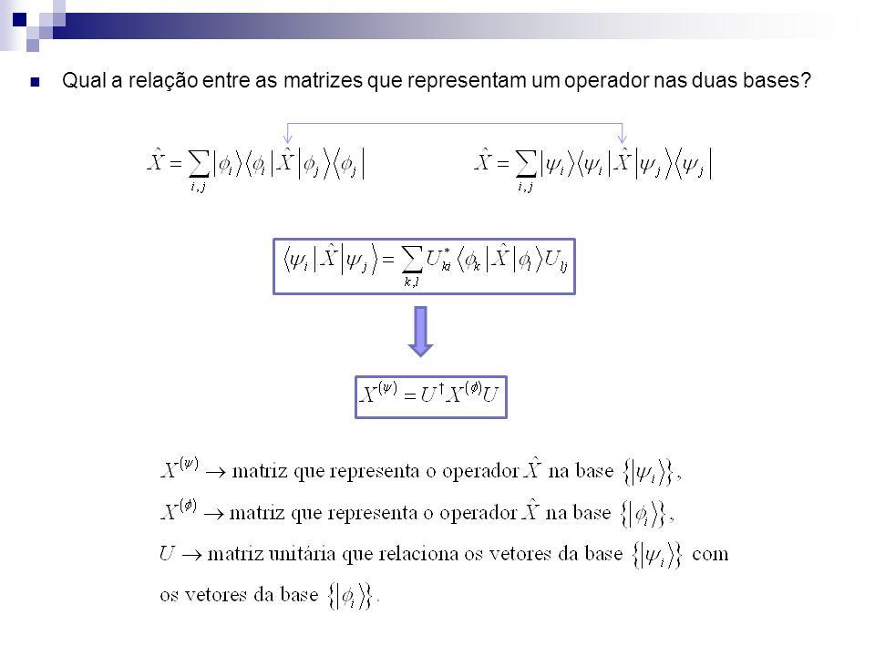 Qual a relação entre as matrizes que representam um operador nas duas bases?