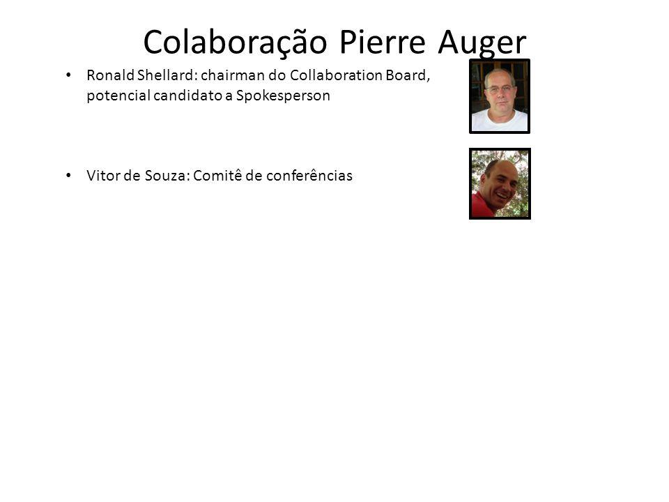 Colaboração Pierre Auger Ronald Shellard: chairman do Collaboration Board, potencial candidato a Spokesperson Vitor de Souza: Comitê de conferências