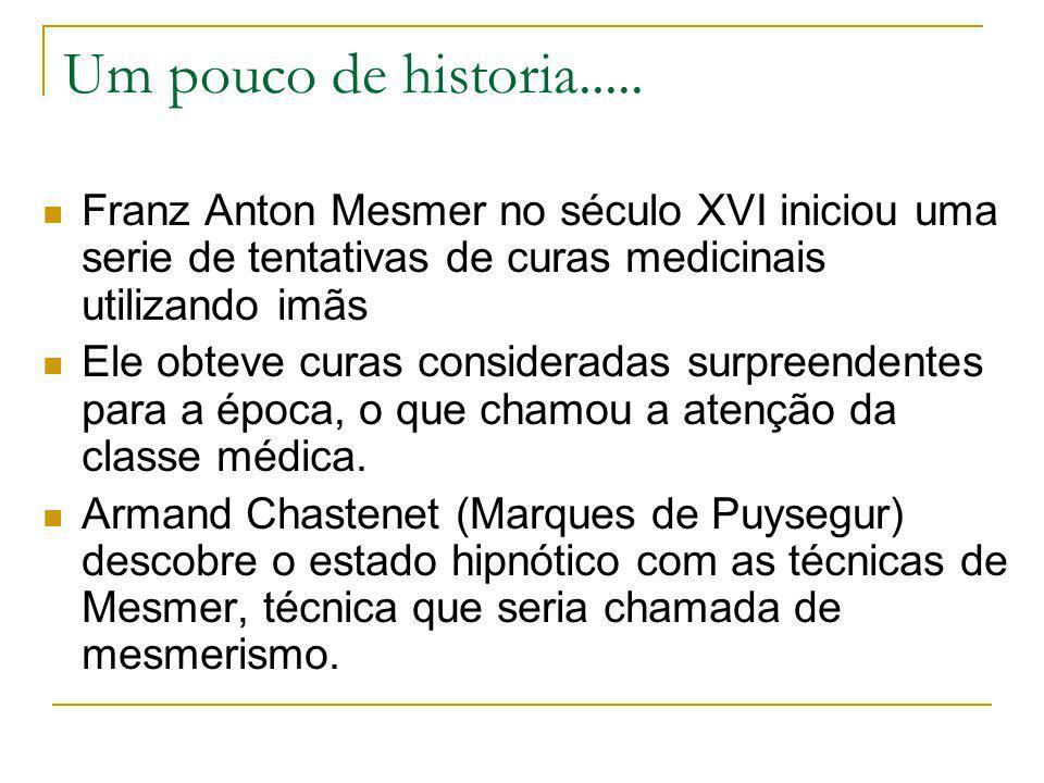 Um pouco de historia..... Franz Anton Mesmer no século XVI iniciou uma serie de tentativas de curas medicinais utilizando imãs Ele obteve curas consid