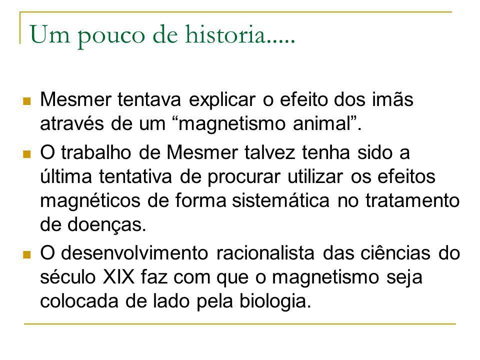 Um pouco de historia..... Mesmer tentava explicar o efeito dos imãs através de um magnetismo animal. O trabalho de Mesmer talvez tenha sido a última t