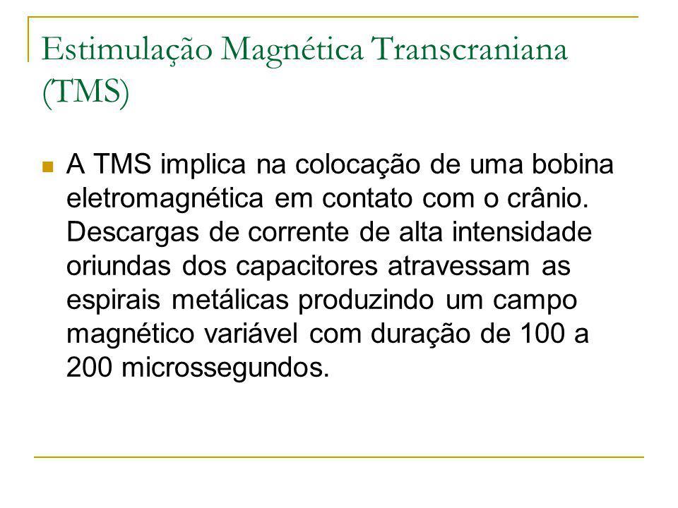 Estimulação Magnética Transcraniana (TMS) A TMS implica na colocação de uma bobina eletromagnética em contato com o crânio. Descargas de corrente de a