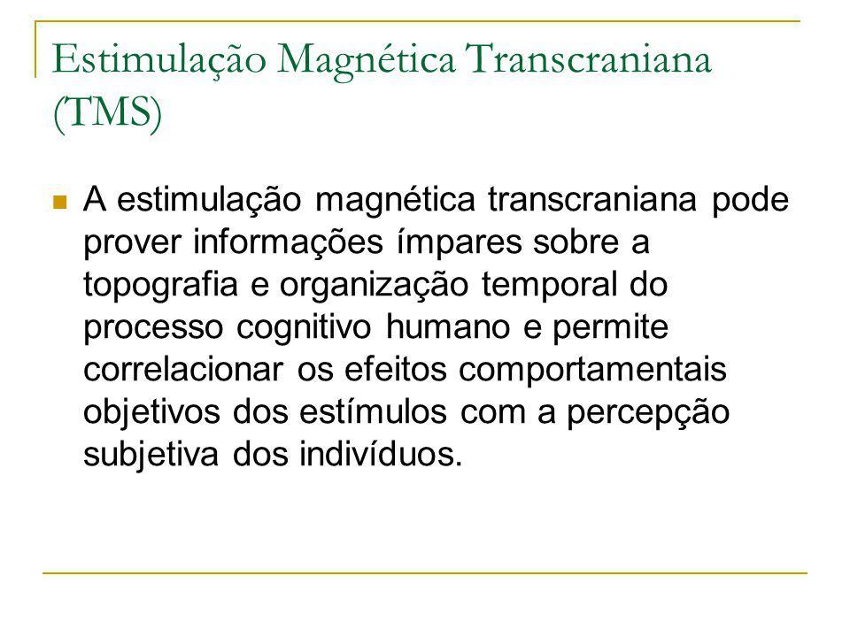 Estimulação Magnética Transcraniana (TMS) A estimulação magnética transcraniana pode prover informações ímpares sobre a topografia e organização temporal do processo cognitivo humano e permite correlacionar os efeitos comportamentais objetivos dos estímulos com a percepção subjetiva dos indivíduos.