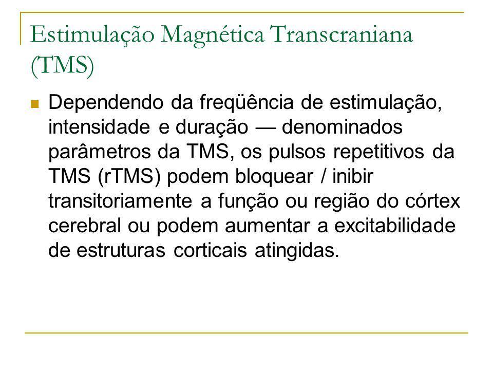 Dependendo da freqüência de estimulação, intensidade e duração denominados parâmetros da TMS, os pulsos repetitivos da TMS (rTMS) podem bloquear / inibir transitoriamente a função ou região do córtex cerebral ou podem aumentar a excitabilidade de estruturas corticais atingidas.