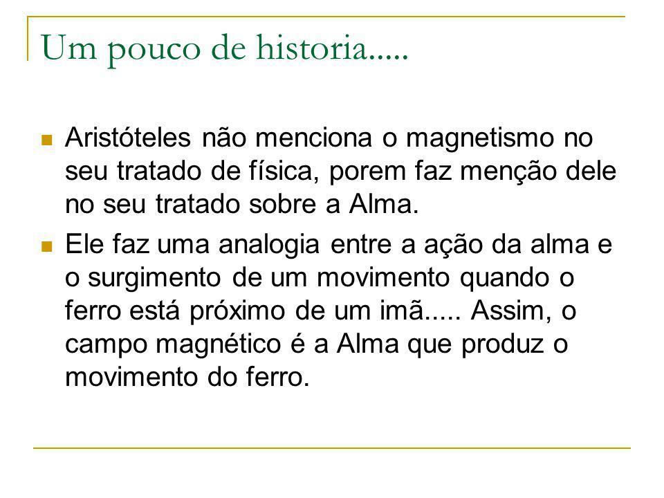 Um pouco de historia..... Aristóteles não menciona o magnetismo no seu tratado de física, porem faz menção dele no seu tratado sobre a Alma. Ele faz u