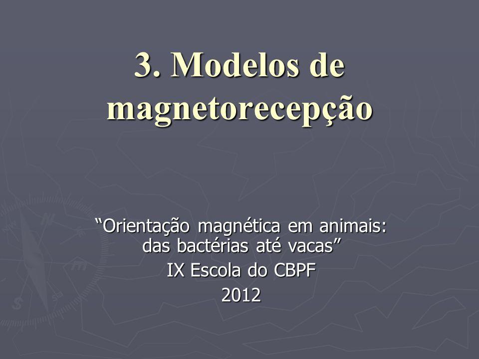 3. Modelos de magnetorecepção Orientação magnética em animais: das bactérias até vacas IX Escola do CBPF 2012