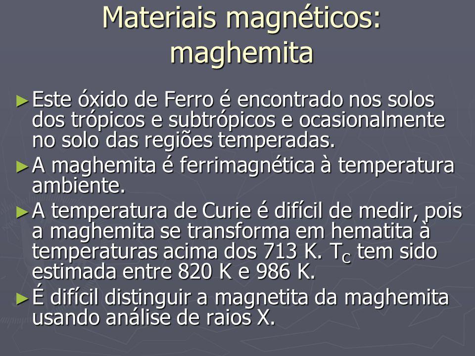Materiais magnéticos: maghemita Este óxido de Ferro é encontrado nos solos dos trópicos e subtrópicos e ocasionalmente no solo das regiões temperadas.
