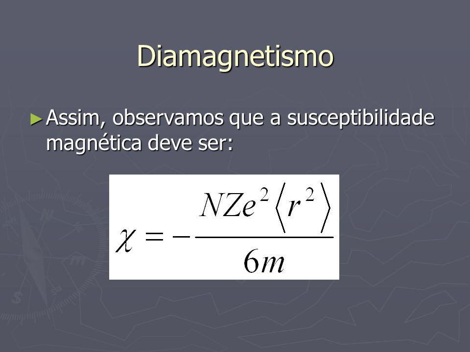 Diamagnetismo Assim, observamos que a susceptibilidade magnética deve ser: Assim, observamos que a susceptibilidade magnética deve ser: