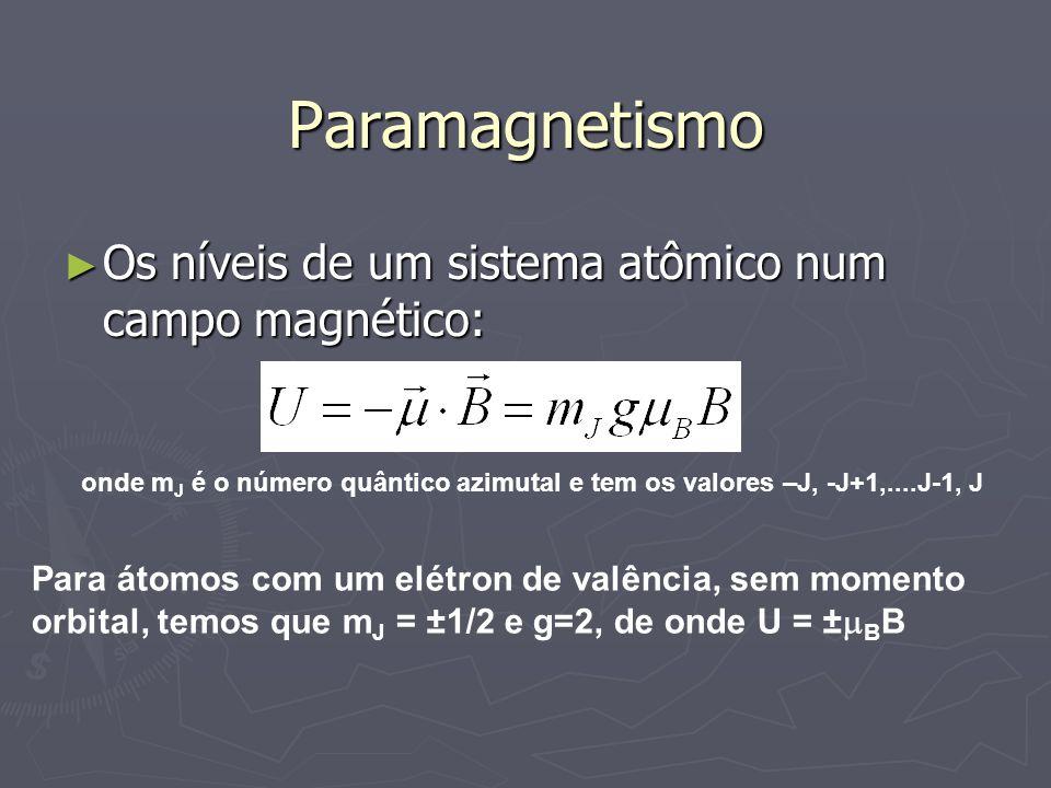 Paramagnetismo Os níveis de um sistema atômico num campo magnético: Os níveis de um sistema atômico num campo magnético: onde m J é o número quântico azimutal e tem os valores –J, -J+1,....J-1, J Para átomos com um elétron de valência, sem momento orbital, temos que m J = ±1/2 e g=2, de onde U = ± B B