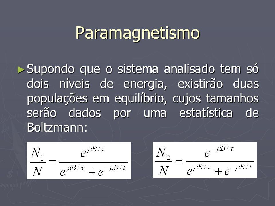 Paramagnetismo Supondo que o sistema analisado tem só dois níveis de energia, existirão duas populações em equilíbrio, cujos tamanhos serão dados por uma estatística de Boltzmann: Supondo que o sistema analisado tem só dois níveis de energia, existirão duas populações em equilíbrio, cujos tamanhos serão dados por uma estatística de Boltzmann: